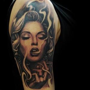 Girl Smoking Tattoo