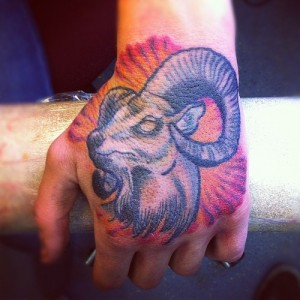 Goat Tattoo on Head