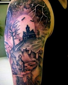 Graveyard Sleeve Tattoos