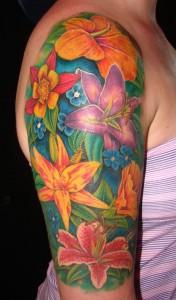 Half Sleeve Flower Tattoo