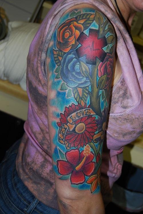 Flower sleeve tattoos designs ideas and meaning tattoos for Half sleeve tattoos with meaning