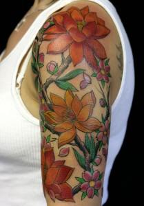 Half Sleeve Flower Tattoos