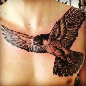 Hawk Chest Tattoo