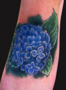 Hydrangea Foot Tattoo