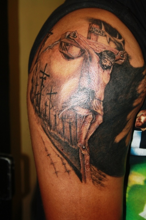 jesus illusion tattoo tattoos optical face sleeve illusions designs cross half christian christ amazing religious tatoos sweet arm meaning samurai