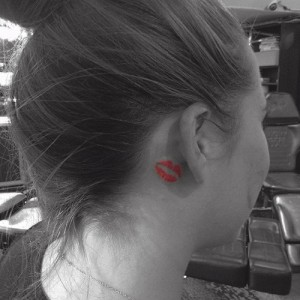 Kiss Tattoo Behind Ear