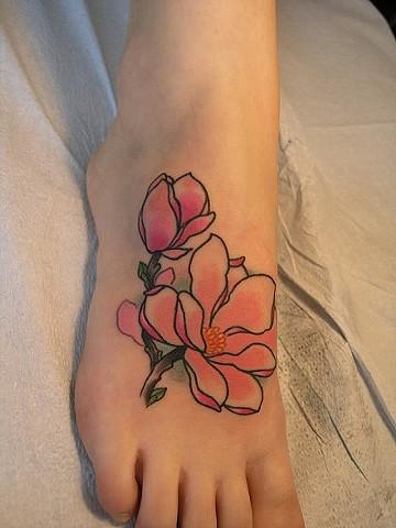 magnolia foot tattoo - photo #7