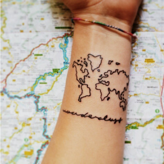World map outline tattoo map tattoos designs ideas and meaning tattoos for you gumiabroncs Image collections