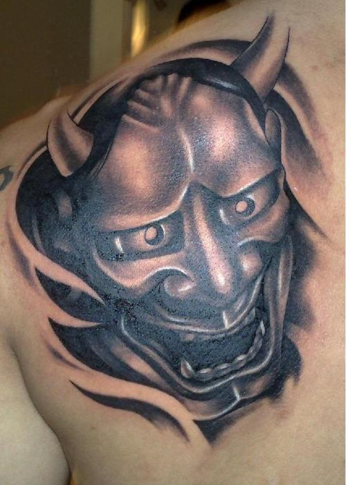 20 eye catching oni mask tattoo designs. Black Bedroom Furniture Sets. Home Design Ideas