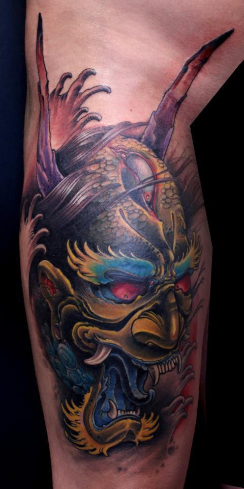 oni mask tattoos designs ideas and meaning tattoos for you. Black Bedroom Furniture Sets. Home Design Ideas