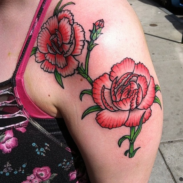 Carnation tattoos designs ideas and meaning tattoos for you for Red carnation tattoo