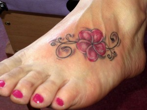 Plumeria Foot Tattoos