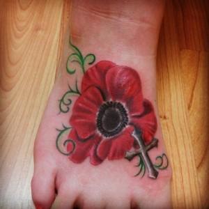 Poppy Foot Tattoo