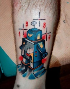 Robot Leg Tattoo