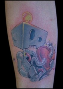 Robot Tattoo on Forearm