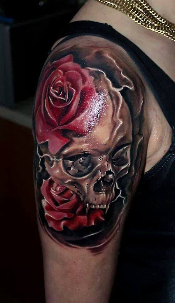skull and roses tattoos designs ideas and meaning. Black Bedroom Furniture Sets. Home Design Ideas