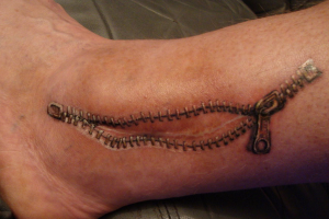 Scar Zipper Tattoo