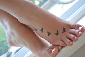 Small Bird Tattoos on Foot
