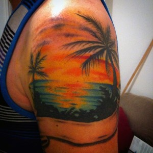 Sunset Tattoos on Shoulder