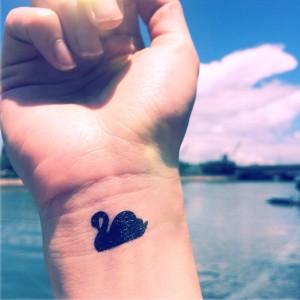Swan Wrist Tattoo