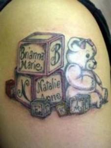 Teddy Bear with Blocks Tattoos