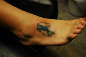 Tinkerbell Tattoo on Foot