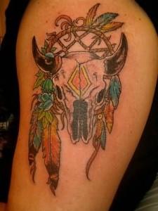 Traditional Bull Skull Tattoo