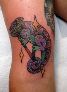 Traditional Chameleon Tattoo