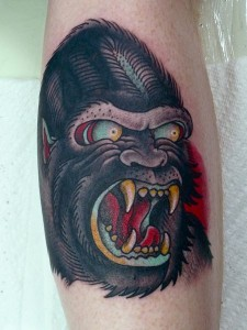 Traditional Gorilla Tattoo