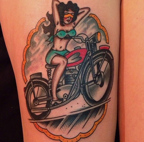 Motorcycle tattoos designs ideas and meaning tattoos for Traditional motorcycle tattoo