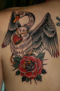 Traditional Swan Tattoo