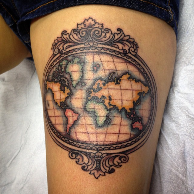 Map tattoos designs ideas and meaning tattoos for you vintage map tattoos gumiabroncs Image collections