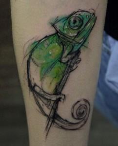 Watercolor Chameleon Tattoo