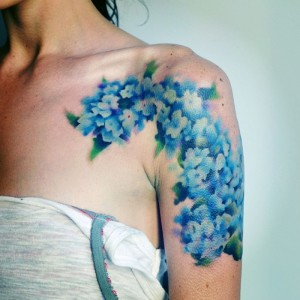Watercolor Hydrangea Tattoo