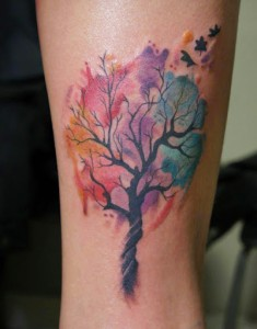 Watercolor Oak Tree Tattoo