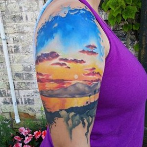 Watercolor Sunset Tattoos