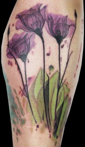 Watercolor Tulip Tattoos