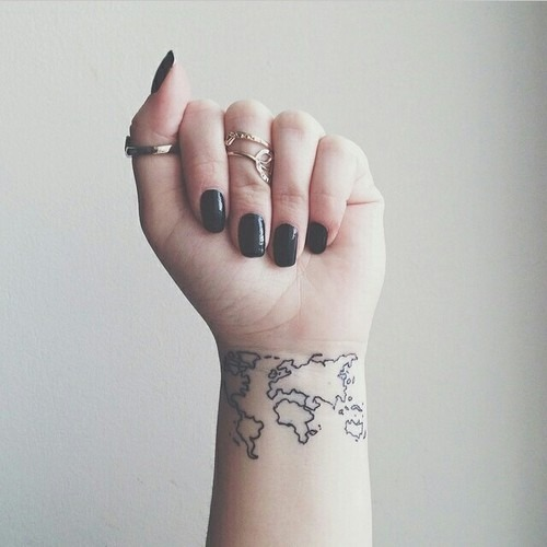 Map tattoos designs ideas and meaning tattoos for you world map tattoo wrist gumiabroncs Image collections