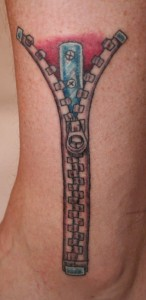Zipper Tattoo on Leg