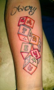 Baby Name Tattoos on Forearm