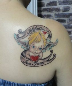 Baby Name Tattoos on Shoulder