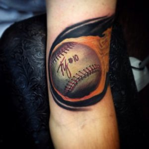 Baseball Tattoos on Elbow