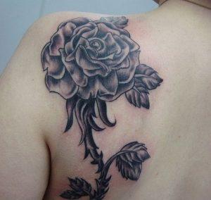 Black Rose Tattoo on Shoulder