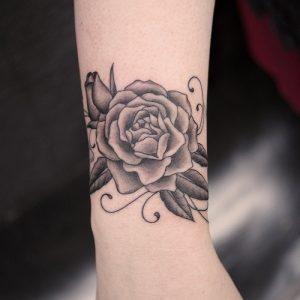 Black Rose Tattoo on Wrist