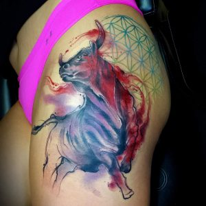 Bull Tattoos on Thigh
