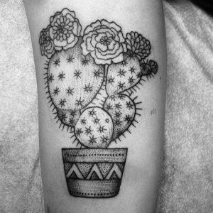 Cactus Tattoo Black and White