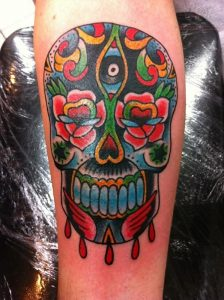 Colorful Candy Skull Tattoos
