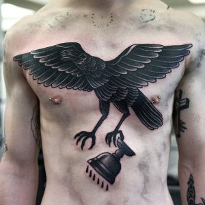 Crow Chest Tattoo