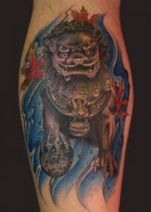 Foo Dog Leg Tattoo