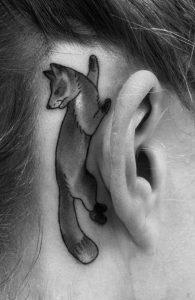 Fox Tattoo Black and White
